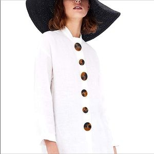 Zara Linen Large Tortoise Button Tunic - sz XS